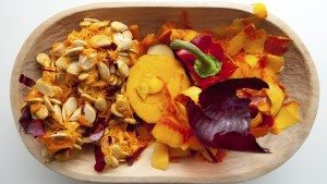 A bowl filled with edible food scraps