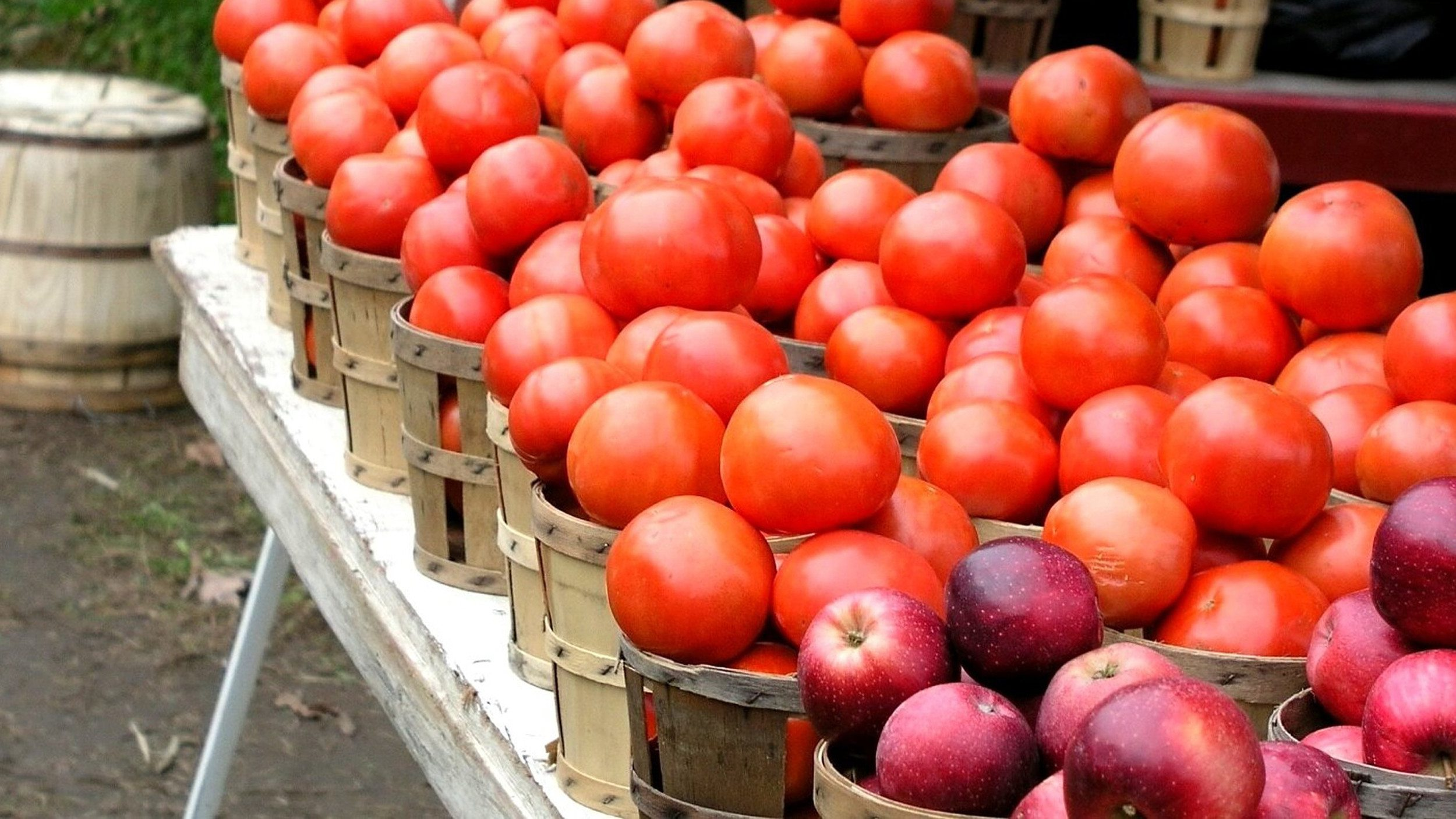 Baskets of ripe tomatoes and apples at a local produce stand