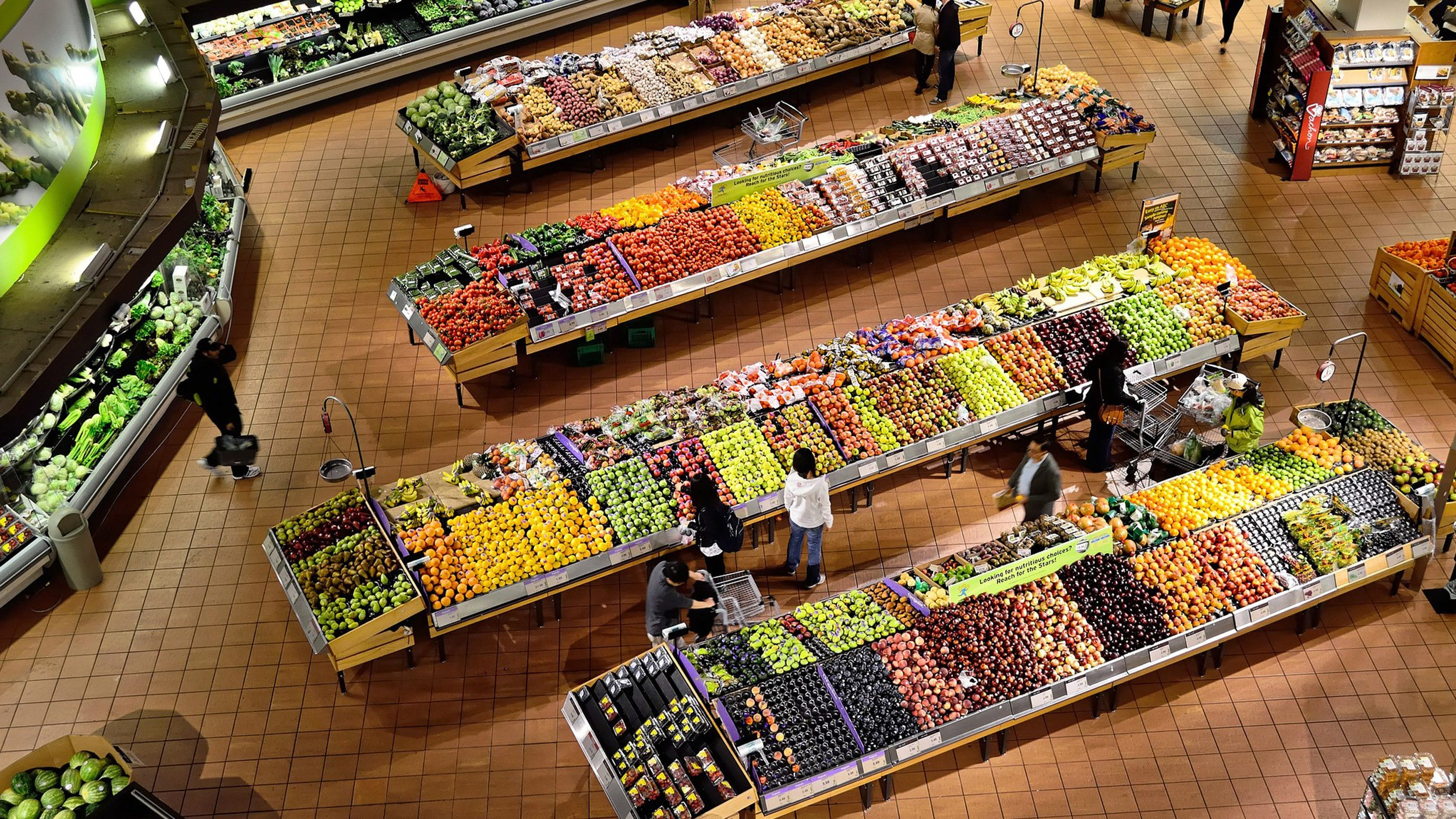Colourful grocery store from above