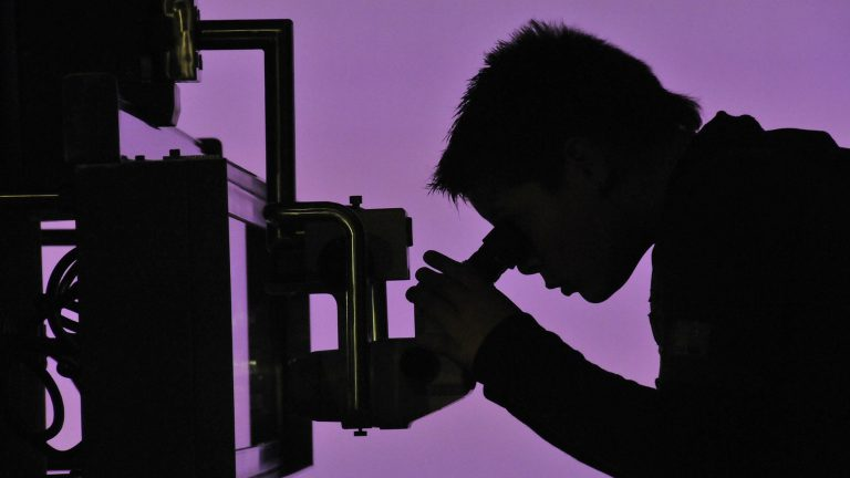 A silhouette of a man looking in a microscope at microbes