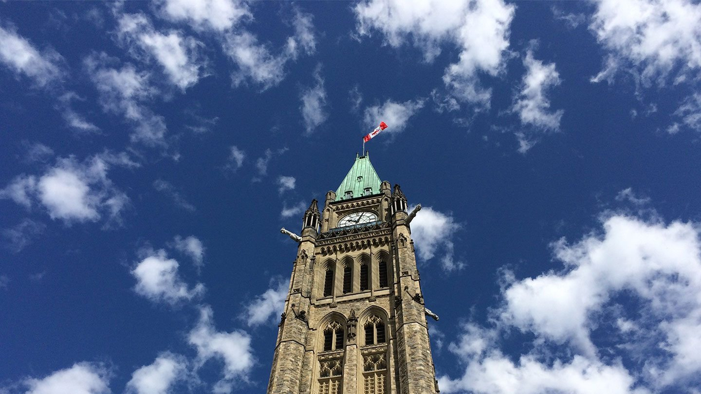 Peace tower against a blue sky