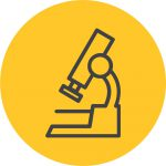 Yellow circle with a microscope icon