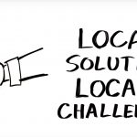 "Whiteboard illustration of a handshake and text that reads ""LOCAL SOLUTIONS LOCAL CHALLENGES"""