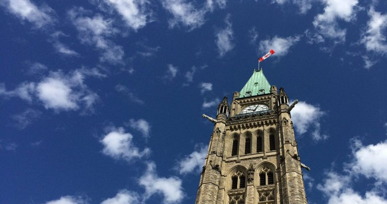 Peace Tower in front of blue sky