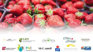 Image of strawberries overlaid with the logos of all the participating organizations listed in the letter