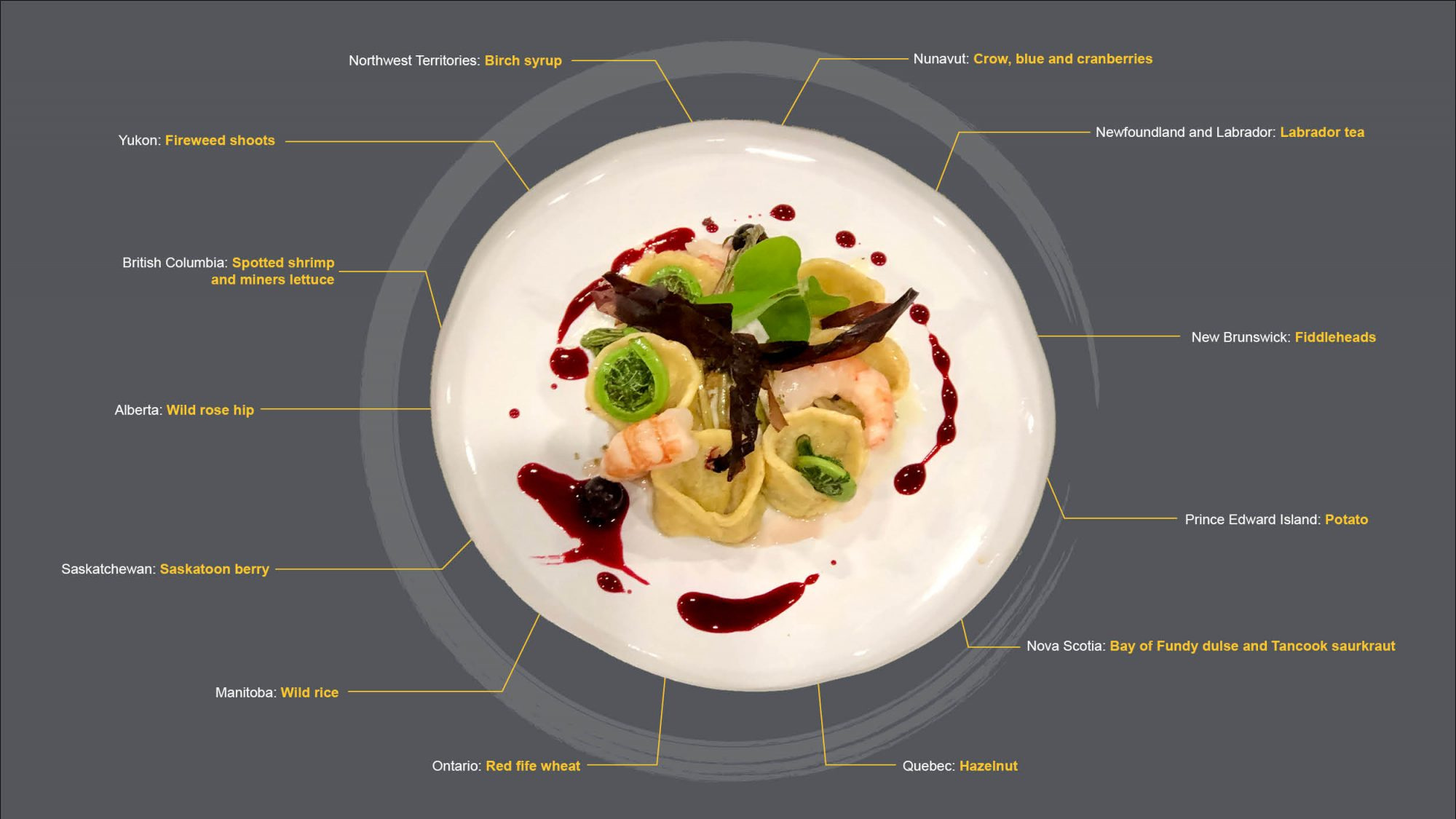 A diagram including an image Chef Andrea's plate, with text references to each ingredient and where they are from. Ingredient details listed in the caption.