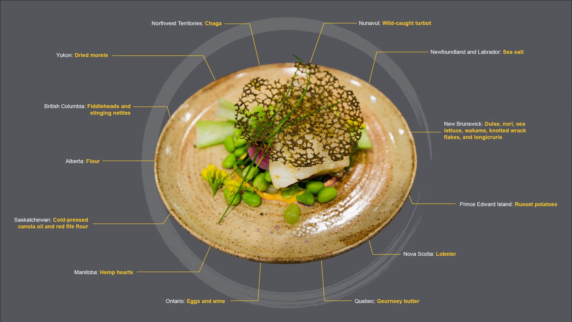A diagram including an image Chef Laura's plate, with text references to each ingredient and where they are from. Ingredient lists at the bottom of the webpage.