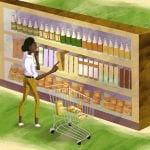 Illustration of a female consumer looking at a shelf of food goods, confused