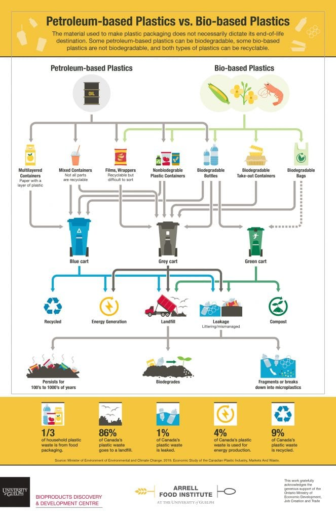 This infographic outlines the different pathways that plastics can take from their origin to their end-of-life. The raw material can be either petroleum or bio-based. In the case of bio-based material, their attractiveness is based on being from renewable sources. Some petroleum-based plastics can be biodegradable, some bio-based plastics are not biodegradable, and both types of plastics can be recyclable. For example, petroleum-based biodegradable plastic bottles can go into the compost bin if they can biodegrade within the turnaround timeframe set by the regional compost facility. Some petroleum-based plastic wraps and films can be recycled, but are difficult to sort, and therefore should go into the gray bin and normally end in a landfill. While bio-based takeout containers can be biodegradable some may not be suitable for compost facilities within a particular region. The different pathways demonstrate that plastic disposal is complex, and materials do not always end up where we might assume.