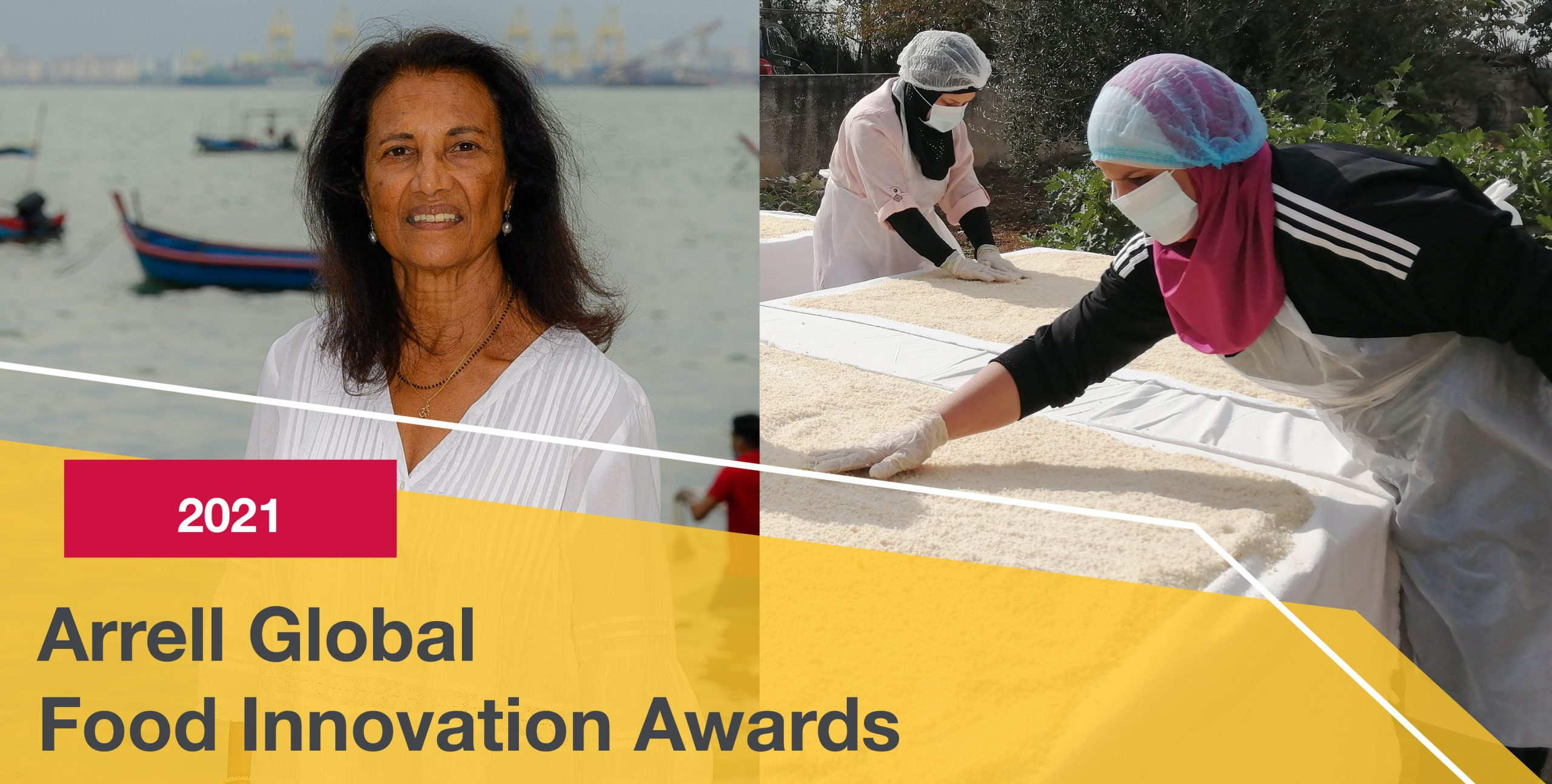 """Text overlay reads """"2021 Arrell Global Food Innovation Awards"""". Photos depict Dr. Thilsted on a beach and women processing rice outside."""
